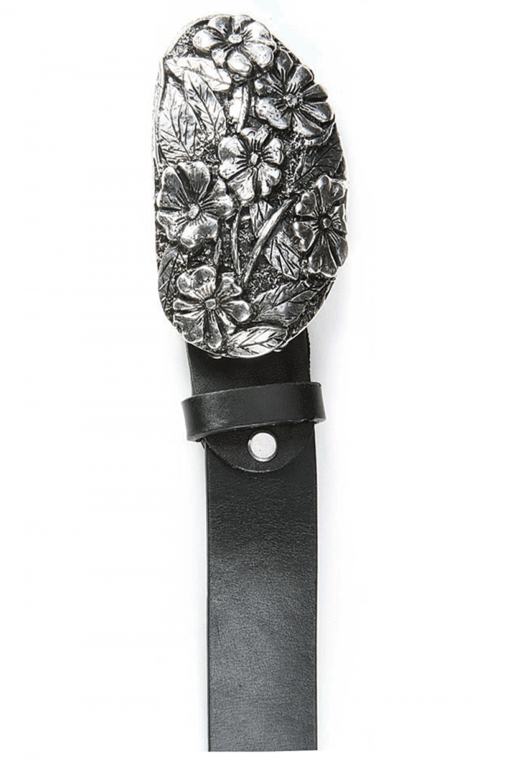 Women Black leather belt with metal tile and ornaments - 516861